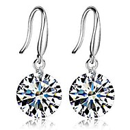 Women's Diamond Cubic Zirconia Drop Earrings Round Cut Ladies Classic Fashion Zircon Earrings Jewelry Silver For Wedding Daily Ceremony Masquerade Engagement Party Prom