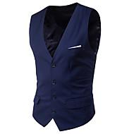 Men's V Neck Vest Short Solid Colored Daily Spring Sleeveless Black / Purple / Red S / M / L