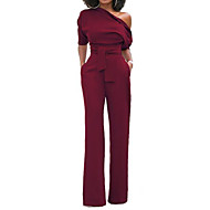 cheap -Women's Wide Leg Kentucky Derby One Shoulder Black Wine Light Blue Wide Leg Slim Jumpsuit Onesie, Solid Colored S M L Short Sleeve Spring Summer
