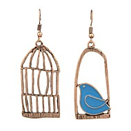 Women's Drop Earrings Mismatched Bird Birdcage Ladies Earrings Jewelry Gold / Silver For Daily Date