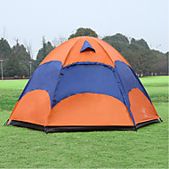Sheng yuan 4 person Camping Tent with Mosquito Net Outdoor Waterproof Breathability Ultraviolet-Resistant Double Layered Poled Design-Ideal Couch Dome Tent 1500-2000 mm Hiking Camping Polyester Oxford