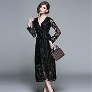 Femme Velours Transparente Midi Noir Robe Rétro Vintage Chic de Rue Printemps Eté Sortie Trapèze Géométrique Col en V M L XL Manches Longues Mince