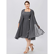 Plus Size A-Line Straps Knee Length Chiffon Mother of the Bride Dress with Pleats Criss Cross by LAN TING BRIDE®