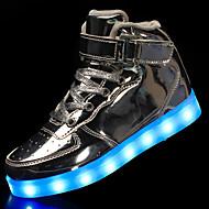 abordables -Mujer Zapatillas de deporte Tacón Plano Dedo redondo Hebilla Semicuero LED / Confort / Zapatos con luz Paseo Primavera / Otoño Negro / Blanco / Dorado / EU39