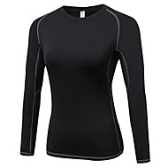 cheap -Women's Compression Shirt Athletic Long Sleeve Moisture Wicking Breathability Gym Workout Exercise & Fitness Sportswear Solid Colored Tee Tshirt Base Layer Top Red / White White Black Blue Grey