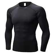 cheap -Men's Compression Shirt Sports Solid Colored Tee / T-shirt Compression Clothing Exercise & Fitness Long Sleeve Activewear Breathability Stretchy