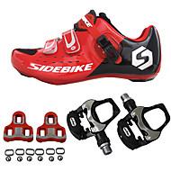 povoljno -SIDEBIKE Biciklističke cipele s pedalom i kopčom Obuća za cestovni bicikl Najlon Karbonska vlakna Prozračnost Cushioning Ultra Light (UL) Biciklizam Crveno / crno Muškarci Tenisice za biciklizam