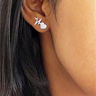 Women's Stud Earrings Heart Heart Rate heartbeat Ladies Simple Fashion Small Earrings Jewelry Gold / Silver / Rose Gold For Formal Work