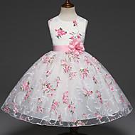 Χαμηλού Κόστους -Παιδιά Κοριτσίστικα Γλυκός Πάρτι Φλοράλ Πολυεπίπεδο Ζακάρ Αμάνικο Φόρεμα Λευκό