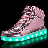 abordables -Mujer Zapatillas de deporte Tacón Plano Dedo redondo Hebilla Semicuero LED / Confort / Zapatos con luz Paseo Primavera / Otoño Dorado / Plata / Rosa