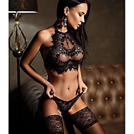 preiswerte -Damen Spitze Rückenfrei Drahtlos BHs mit Spitze Polsterloser BH Komplett bedeckend BH & Höschen Sets Solide Sexy Geschenk Freizeitskleidung Schwarz Weiß