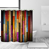 Shower Curtains with Hooks Colorful Wooden  Wood Art Plank Rustic Retro Wooden Vintage Shower Curtain Waterproof for Bathroom