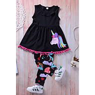 Toddler Girls' Active Daily Going out Solid Colored Rainbow Ruched Tassel Print Sleeveless Long Regular Clothing Set Black / Cute