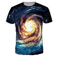 Herr Plusstorlekar T-shirt Galax Grafisk Tryck Blast Aktiv Grundläggande Rund hals Blå / Kortärmad / Sommar