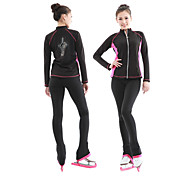 Figure Skating Jacket with Pants Women's Boys' Girls' Ice Skating Pants / Trousers Top Dark Pink Sky Blue Spandex Stretchy Training Competition Skating Wear Sequin Long Sleeve Figure Skating