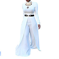 Women's Wide Leg Party / Daily V Neck Black Wine White Slim Jumpsuit Onesie, Solid Colored S M L Cotton Half Sleeve Spring Summer