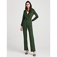 Women's Holiday / Casual / Daily / Club Street chic Deep V Black Army Green Royal Blue Wide Leg Slim Jumpsuit Onesie, Solid Colored S M L High Rise Long Sleeve Spring Fall