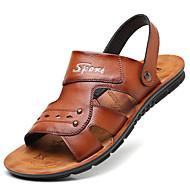 저렴한 -남성용 편안한 신발 봄 / 여름 캐쥬얼 캐쥬얼 집 밖의 비치 샌들 워킹화 마이크로 섬유 통기성 블랙 / 브라운 슬로건 / 비즈 / EU39