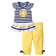 cheap -Toddler Girls' Active Daily Holiday Solid Colored Striped Print Short Sleeve Regular Cotton Clothing Set Yellow / Cute