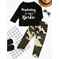 Toddler Boys' Check Party Daily Going out Geometric Print Long Sleeve Regular Regular Cotton Clothing Set Black