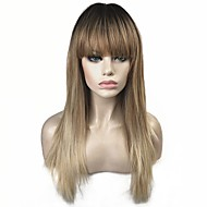 Synthetic Wig Straight With Bangs Wig Blonde Ombre Long Light Brown Synthetic Hair 24 inch Women's 100% kanekalon hair Blonde Ombre StrongBeauty