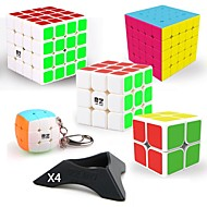 9 pcs Magic Cube IQ Cube QIYI QIYI-A Pyramorphix Alien Mini 2*2*2 3*3*3 4*4*4 5*5*5 Smooth Speed Cube Magic Cube Stress Reliever Puzzle Cube Smooth Sticker Professional Level Gaming Kid's Teen Adults'