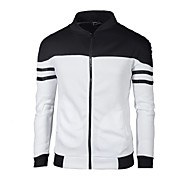 Men's Daily / Going out Basic Spring &  Fall Regular Jacket, Color Block Stand Long Sleeve Polyester Wine / White / Royal Blue