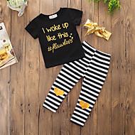 Toddler Girls' Active Daily Sports Striped Print Print Short Sleeve Regular Regular Cotton Clothing Set Black / Cute
