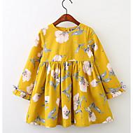 cheap -Kids Girls' Boho Floral Long Sleeve Dress Yellow