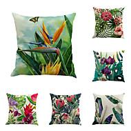 abordables -Funda de almohada de lino de 6 piezas, almohada rústica de vacaciones con estampado floral botánico
