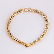Bracelet Femme Rivière de Diamants Plaqué Or 18 Carats Délicatesse dames Coréen Mode Bracelet Bijoux Dorée Forme de Cercle pour Soirée Cadeau