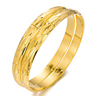 2pcs Women's Bracelet Bangles Cuff Bracelet Sculpture Ladies Ethnic Gold Plated Bracelet Jewelry Gold For Party Gift
