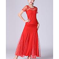 Ballroom Dance Outfits Women's Performance Tulle / Milk Fiber Ruching / Split Joint Short Sleeve Natural Skirts / Top