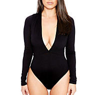 Women's Daily Bodysuit - Solid Colored Deep V White