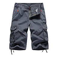 cheap -Men's Daily Loose Bootcut Shorts Tactical Cargo Pants - Solid Colored Light Brown Black Blue 30 / 32 / 34