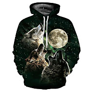 Men's Plus Size Basic / Exaggerated Long Sleeve Loose Hoodie - 3D / Cartoon Wolf, Print Hooded Black XL / Fall / Winter