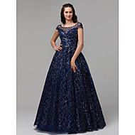 Ball Gown Boat Neck Floor Length Tulle / Sequined Sparkle & Shine Formal Evening Dress with Sequin by TS Couture®