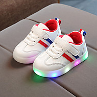 رخيصةأون -للصبيان / للفتيات LED / مريح / أحذية مضيئة PU أحذية رياضية طفل (9M-4ys) / الأطفال الصغار (4-7 سنوات) دانتيل / لزيق سحري / LED أسود / أحمر / أخضر داكن ربيع & الصيف / للربيع والصيف / مخطط
