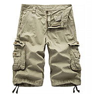 cheap -Men's Streetwear Military Going out Chinos Shorts Tactical Cargo Pants Solid Colored Knee Length Black Blue Red Khaki Green