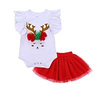 Baby Girls' Casual / Basic Christmas / Daily / Holiday Print / Christmas Mesh / Print Short Sleeve Regular Regular Cotton Clothing Set Red / Toddler