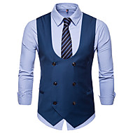 Men's V Neck Vest Regular Solid Colored Daily Work Business Basic Plus Size Fall Winter Sleeveless Black / Blue / Camel M / L / XL / Business Casual / Slim