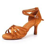 Women's Latin Shoes Satin Heel Slim High Heel Customizable Dance Shoes Dark Brown / Performance / Practice