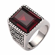 Men's Ring Signet Ring Sapphire Synthetic Sapphire Synthetic Ruby 1pc Red Blue Glass Steel Stainless Round Geometric Stylish Vintage European Street Club Jewelry Stylish Solitaire Creative Cool