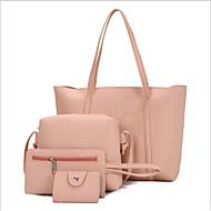 Women's Zipper PU Bag Set Bag Sets 4 Pieces Purse Set Black / Brown / Wine
