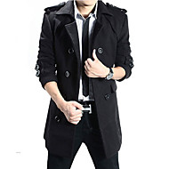Men's Daily / Going out Long Trench Coat, Contemporary Turndown Long Sleeve Polyester Black / Dark Gray