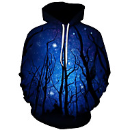 Men's Plus Size Active / Exaggerated Long Sleeve Loose Hoodie - 3D / Cartoon Print Hooded Black 4XL / Fall / Winter