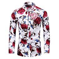 billige -Bomull Tynn Store størrelser Skjorte Herre - Blomstret, Trykt mønster Vintage / Grunnleggende Blå / Langermet