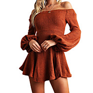 Women's Daily Going out Flare Sleeve Mini Slim Sheath Dress - Solid Colored Boat Neck Fall Orange Red Gray M L XL / Sexy
