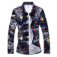 Herre Plusstørrelser Dyr Trykt mønster Tynd Skjorte Basale Daglig I-byen-tøj Spredt krave Hvid / Navyblå / Langærmet