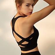 Mulheres Sports Bra Top Sutiã Top Sem costas Elastano Zumba Corrida Dança Tapete 3D Design Anatômico Redutor de Suor Preto Azul / Elasticidade Alta
